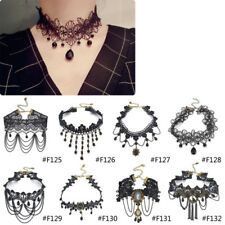 Lychee Gothic Victorian Crystal Tassel Tattoo Choker Necklace Black Lace
