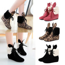 Women Fax Suede Rabbit Ear Lace Up Boots Wedge Heels Winter Ankle Boots Shoes