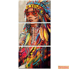 Art Canvas Painting Landscape 3 Panel Native Indian Girl