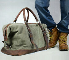 Retro Men's Genuine Leather Canvas Duffle Weekend Bag Luggage Daypack Pack New