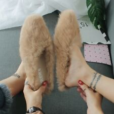 Lady Faux Fur Slippers Fluffy Furry Pointed Toe Flat Flip Flops Warm Shoes Soft