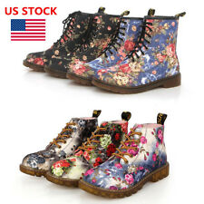 US Women Ladies Floral Low Heel Ankle Boots Lace Up High Top Retro Martin Shoes
