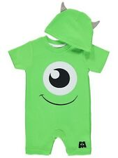 Disney Monsters Inc Mike Baby Romper All in One Playsuit Babygrow Hat Halloween