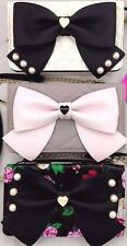 Betsey Johnson Convertible Bow Wos Crossbody Clutch Wallet Heart Floral Quilted