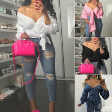 2017 Womens Casual Sexy Long Puff Sleeve Off shoulder Bandage Blouse Crop Tops