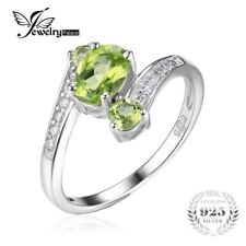 JewelryPalace 3 Stones Natural Peridot Ring Gemstone Solid 925 Sterling Silver W