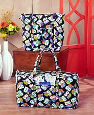 Tote And Duffel Bag Travel Gym Carry On Quilted Cotton Owl Elephant Print Bags