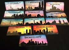 Mexico & Canada City Skyline Silhouette -- Sunrise Sunset -- Metal License Plate