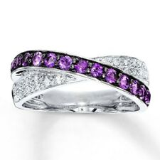 1.34Ct Amethyst & White Topaz Women Men 925 Silver Jewelry Wedding Ring Size6-10