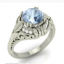 Women Men Jewelry  925 Silver Ring 2.1Ct Sky Blue Topaz Wedding Ring Size 6-10