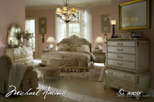 AICO Furniture - Lavelle Blanc 5 Piece Queen Wing Mansion Bedroom Set - 54000QNW