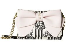 Betsey Johnson Floral Striped Xbody Crossbody Wallet Or Clutch Black White Pink