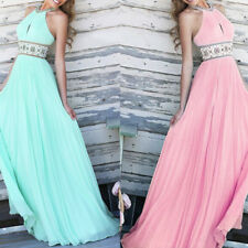 Sexy Women Floral Shoulder Halter Sun Top Pleated Chiffon Long Maxi Party Dress
