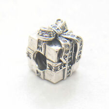 Authentic S925 Sterling Silver Sparkling Surprise Present Clear CZ Charm Bead