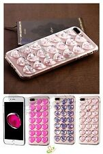 Apple iPhone 5 6 8 7 Plus Hybrid Bling Glitter Hearts Rubber Silicone Case Cover