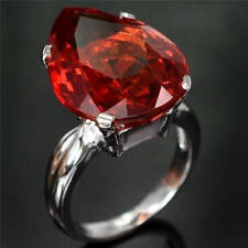 1.5ct Ruby Topaz Women Men 925 Silver Cocktail Ring  Wedding Vintage Size 6-10