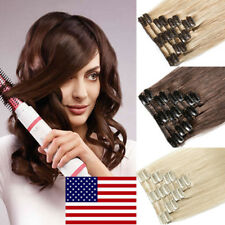 Highlight 8PCS Weft Clip in Remy Human Hair Extensions FULL HEAD Real THICK B795