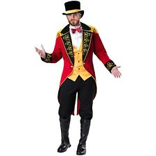 Mens Deluxe Ringmaster Costume Wild Animal Lion Tamer Circus Party Outfit & Hat