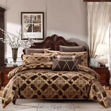 Luxury Gold Jacquard Duvet Cover 6Pcs Set Pillow Cases Sheets Comforter Cover