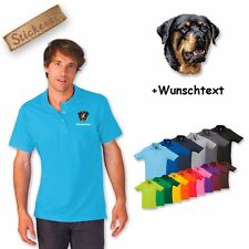Polo Shirt Shirt Cotton Embroidered Embroidery Rottweiler + Text of your choice