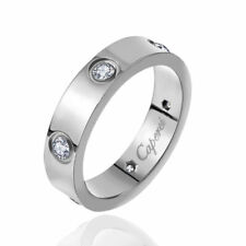 Fimous Silver Stainless Steel Women's Love Engagement Wedding Band Ring Size 4-9