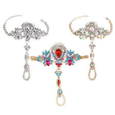 Women Big Flower Crystal Anklet Toe Ring Barefoot Chain Sandal Beach Jewelry