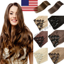 Silky Clip in Remy Human Hair Extensions FULL HEAD Real Long THICK Highlight US