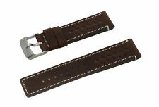 SWISS REIMAGINED Vintage Italian Leather Watch Band Brushed Stainless Buckle