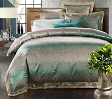 Luxury Jacquard 100% Cotton And Silk 4Pcs Bed Linen Turquoise Duvet Cover Set