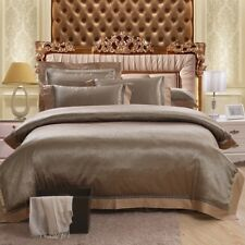 Luxury Jacquard 100% Cotton And Silk 4Pcs Bed Linen Bronze Gold Duvet Cover Set