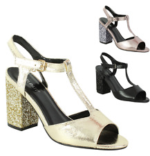 New Ladies Womens Ankle Strap Block High Heel Sandals Open Toe Shoes Size UK 3-8