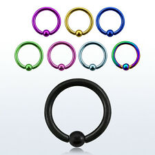 Pair of 16G Titanium Anodized Captive Bead Ring Nose Hoop with 2.5 mm Ball