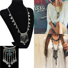 Fashion Women Jewelry Gem Drop Retro Long Pendant Sweater Chain Necklace FF60