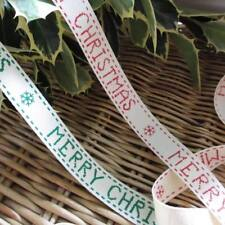 1/3/5/20 Metres RED GREEN MERRY CHRISTMAS PRINT 15mm Cream Twill Ribbon Trimming