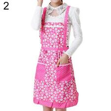 Women's Bib Comfy Cooking Chef Floral Pocket Kitchen Restaurant Princess Apron