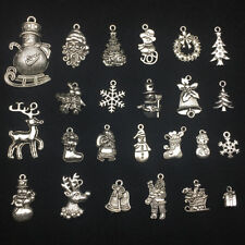 Lot Tibet Silver Christmas Santa Claus Snowman Reindeer Pendant Jewelry Finding