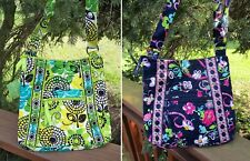 VERA BRADLEY Hipster Cross Body Crossbody Purse Limes Up Green Ribbons Blue