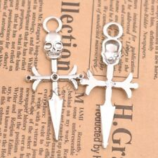 Wholesale 5Pcs Tibetan Silver Cross Charms Pendants Jewelry 63X28MM D351