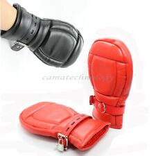 Fetish PU Leather Locking Goth Padded Mittens Dog Paw Palm Lockable Fist Gloves