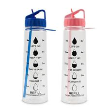 The Increment Bottle Pioneer Flip Straw Motivational Diet Water Bottle BPA FREE