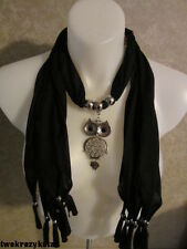 BLACK SCARF WITH OWL PENDENT JEWELRY ACCESSORY LADIES SCARF WEAR