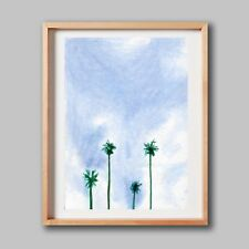 ACEO Original Colored Pencil Drawing, Sky with Palm Trees. Calm Positive Vibe