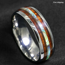 8mm Tungsten carbide ring Koa Wood Abalone ATOP Wedding Band Ring Men's Jewelry