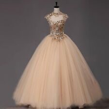 Light Gold High Neck Tulle Ball Gown Delicate Quinceanera Dresses Custom Made