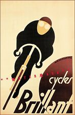 Cycles Brilliant 1925 French Bicycle Advertising Vintage Poster Print Art Deco