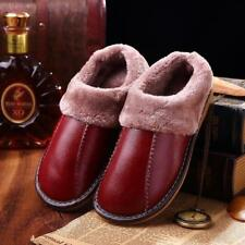 Winter Warm Fuzzy Cow Leather House Slippers for Women Fleece Lined Home Shoes m