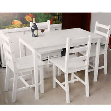 Wooden Dining Kitchen Table + 2 Chairs/ 4 Chairs High Gloss Set Furniture Bistro
