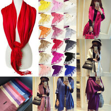 Women Lady Casual Solid Color Pashmina Tassels Soft Satin Long Wraps Shawl Scarf