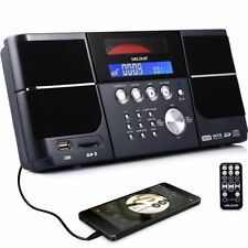 Portable Stereo Cd Player Velour Boombox With Fm Radio Clock Usb Sd And Aux L...