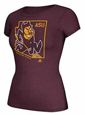 Ladies Arizona State Sun Devils Adidas Maroon Clipped State Short Sleeve Tee Shi